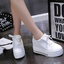 New Womens Canvas Platform Hidden Wedge High Heel Lace up Sneaker Shoes Casual