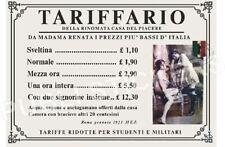 "TARGA VINTAGE 1923 CASA DI TOLLERANZA ""TARIFFARIO"" IMMAGINE RESTAURATA, BROTHEL"