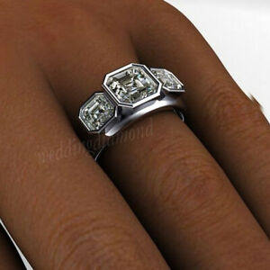 Vintage Art Deco 5.78ct White Round Solid Promise Engagement 925 Silver Ring