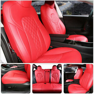 Xipoo Fit For Tesla Model 3 Car Seat Covers 3D Surrounded PU Leather Protection 12pcs Red