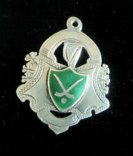 Irish Vintage Sterling Silver & Enamel Fob Medal - Hurling /Shinty - Dublin 1944