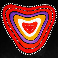 Love Camp Fire aboriginal inspired art lover painting heart print poster  jane