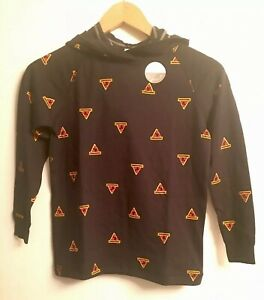 NWT HANNA ANDERSSON Boys Pima Cotton Reversible Pullover Hoodie Pizza 6-7 120cm