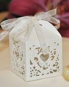 10 x delicately cut out 'hearts in love ' wedding favour boxes with ribbon