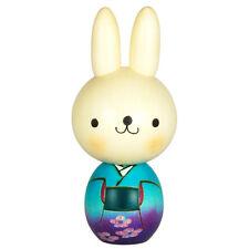 "Japanese Wooden Doll Creative Kokeshi Rabbit Blue Kimono Plum Blossom Design 5"""