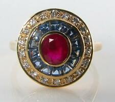 UNUSUAL COMBO 9CT GOLD RUBY BLUE SAPPHIRE DIAMOND  RING FREE RESIZE