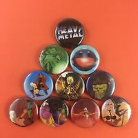 "Heavy Metal Movie 1"" Button Pin Set (10 pins) Animation Action Fantasy Cartoon"