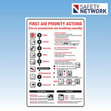 First Aid Priority Actions  Safety Sign Instructions Rescue Breathing 680LM