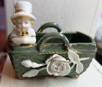 Antique Victorian Fairing Kate Greenway Child w/ Top Hat in Basket Applique Rose