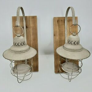 Rustic Metal Wood Lanterns Wall Hanging On Hooks Candle Holders Set of 2 NEW