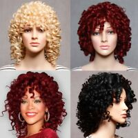 Women Short Afro Curly Synthetic Hair Full Wigs Cosplay Black Heat Resistant Wig