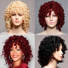 Women Short Curly Synthetic Hair Full Wigs Cosplay Black Heat Resistant Afro Wig