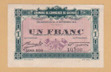 FRANCE - WW1 Old Note Un Franc - Ch. de Com. de GRENOBLE 1916 - Ex Fine - LOOK!
