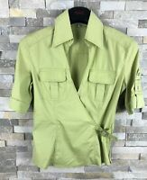 Karen Millen Ladies Size 10 V Neck Lime Short Sleeve Blouse Top Shirt