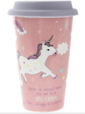 Pink Always Be a Unicorn Ceramic Travel Mug Thermal Tea Coffee Cup Flask Gift