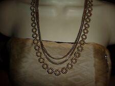 #617 vtg TRIFARI  gold tone costume necklace 3 strands 2 chains 1 circles