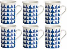 Rayware Set of 6 Blue Triangle Mugs 30cl