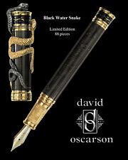 David Oscarson Limited Edition 88 Black Water Snake Gold Overlay Fountain Pen