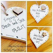 PERSONALISED WOODEN HEART PLAQUE VALENTINES DAY MOTHERS DAY ALL OCCASIONS TEXT