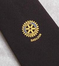 Rotary International Basildon Club Asociación Corbata Vintage Década de 1970 década de 1980 burgund
