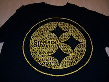 MAJESTIC PITTSBURGH STEELERS SHORT SLEEVE BLACK T-SHIRT MENS LARGE EXCELLENT