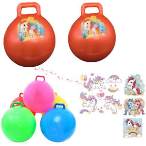 Kids Inflatable Unicorn Hopper Ball Hippity Hop Jumping Ride Toy Bouncer Handle