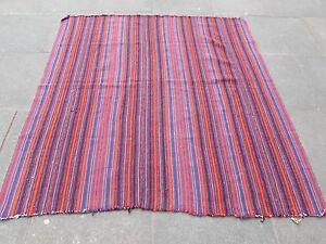 Vintage Tribal Traditional Hand Made Oriental Red Wool Jajim Kilim 180x175cm