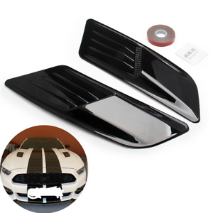 2Pcs Car Decorative Air Flow Intake Hood Vent Cover ABS w/Double-sided Adhesive