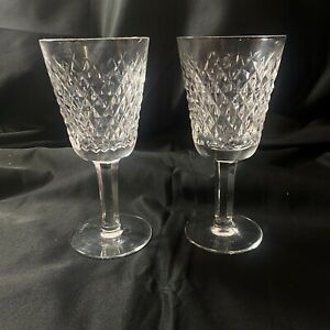 (2) Vintage Waterford Crystal Set Alana White Wine Glasses Old Gothic Stamp
