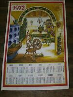 Vintage Linen Collectible Hanging Calendar 1972 Dish Tea Towel French English