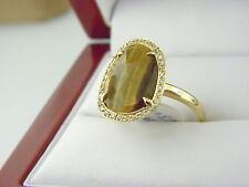 14k Yellow Gold Diamond Tiger Eye Slice Ring  Sz 6.5  (3.10 ct. t.w.)