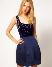 ASOS Dress with Diamante Velvet Top - Blue / US 12