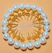 Wholesale 10 Pairs 8/10/12MM White Akoya Round Shell Pearl Gold Stud Earrings AA