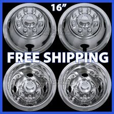 "4 DODGE 16"" Dual Steel Wheel Simulators Dually 8 Lug Rim Skins Liners Covers RV"