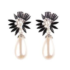 Bohemian Crystal Rhinestones Pearls Earrings Women Drop Ear Stud Dangle Jewelry Black