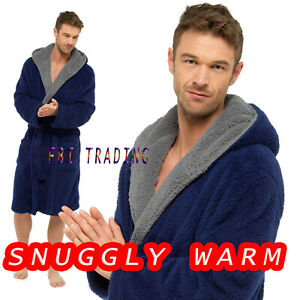 Mens GENTS  Dressing Gown Suggle Fleece  Hooded Lounge ROBE EXTRA  WARM  HT042