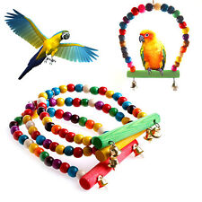 Colorful Swing Parrot Bird Rope Harness Hammock Hanging Toys Parakeet Cockatiel