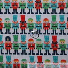 BonEful Fabric Cotton Quilt White Red Green Xmas Nutcracker Holiday Stripe SCRAP