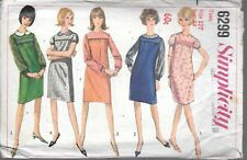 Vintage sewing pattern Simplicity 6299 teen 12 1-piece dress simulated smocking