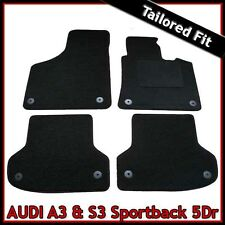 Audi A3 Mk2 Sportback 5-Door 2003-2013 Tailored Carpet Car Floor Mats BLACK