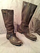 L.L. Bean Tall Brown Women's Leather Riding Boots Side Zip Ankle Strap S 8.5B
