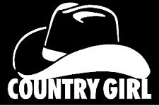 country girl hat funny vinyl decal car bumper sticker 273