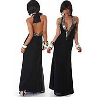 Vestito donna abito lungo nero sera chiffon paillettes scollo americana nuovo