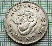 AUSTRALIA ELIZABETH II 1961 ONE SHILLING, RAM'S HEAD, SILVER HIGH GRADE AUNC