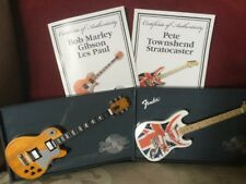 Bob Marley & Pete Townshend Miniature Guitars of the Stars Gibson & Stratocaster