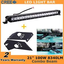 21 Inch 100W Led Single Row Light Bar 20+Hood Bracket 07-18 for Jeep Wrangler JK