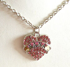 "16"" Silver Plated Necklace + Pink Rhinestone Heart Pendant NANA Free Gift Bag"