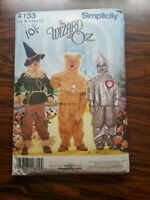 Simplicity 4133 Wizard of Oz Scarecrow, Tin Man & Cowardly Lion Year 2006 Cut