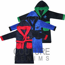 Robe Children Kids Boys Fleece Dressing Gown Super Soft Polo Player Horse Design