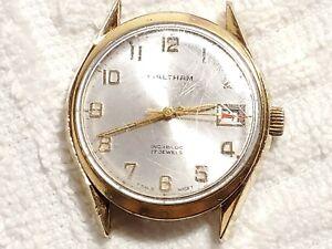 Vintage Waltham Swiss Made Wind Up Date Watch Seventeen Jewels Silver Dial Men